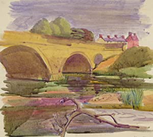 Mary Pierce - Signed 20th Century Pen and Ink Drawing, River View with Bridge