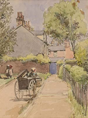 T.S - 20th Century Watercolour, Village Street Scene with Cart