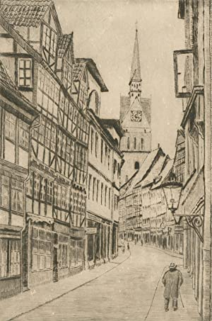 Signed Early 20th Century Etching - Street Scene in Hanover