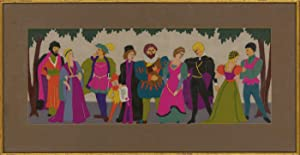 Framed 20th Century Felt Embroidery - Medieval Figures