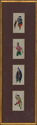 Framed 19th Century Gouache - Four Chinese Figure Studies on Pith Paper