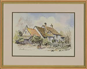Jane Flower - 20th Century Pen and Ink Drawing, Cottages near Oxford, England