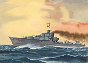 Mid 20th Century Watercolour - Military Ship