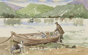 Harry Herbert - Signed 2000 Watercolour, The Fisherman and Dog