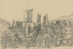 Late 19th Century Graphite Drawing - Castle Ruins in a Landscape