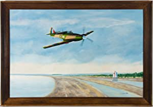 J. Bryne - Framed & Signed 1996 Oil, Spitfire Plane in a Coastal Landscape