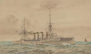 W.J. Sutton - 20th Century Watercolour, Large Military Vessel at Sea