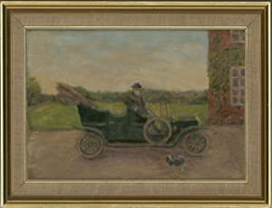 Framed 20th Century Oil - A Gentleman and his Automobile