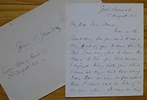 Autograph Letter Signed, plus additional dated autograph