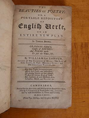 THE BEAUTIES OF POETRY: OR, A PORTABLE REPOSITORY OF ENGLISH VERSE, ON AN ENTIRE NEW PLAN