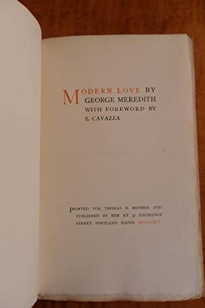 MODERN LOVE By George Meredith with a Foreword by E. Cavazza
