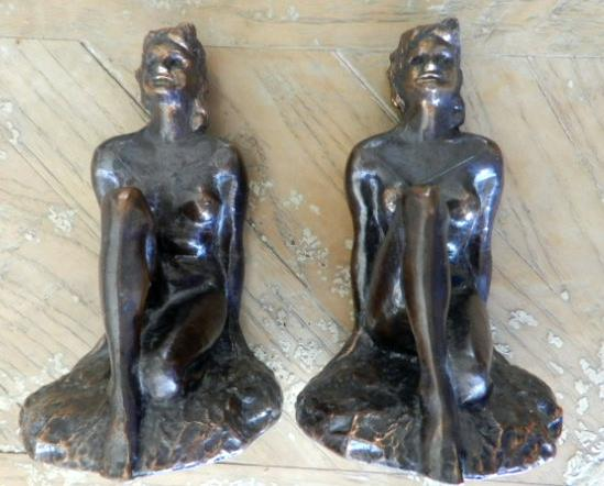 "Metal figural, """"ART DECO KNEELING NUDE BOOKENDS"""""
