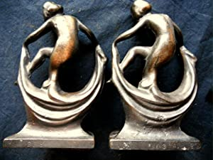 Cast Iron Nude Lady Scarf Dancer Bookends