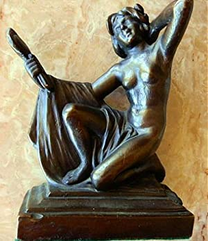 """COPPER, """"WOMAN WITH A MIRROR"""" BOOKENDS"""