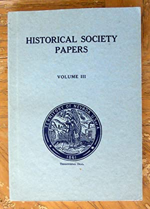 NEVADA HISTORICAL SOCIETY PAPERS, VOL. III, 1921-1922.: Nevada Historical Society,