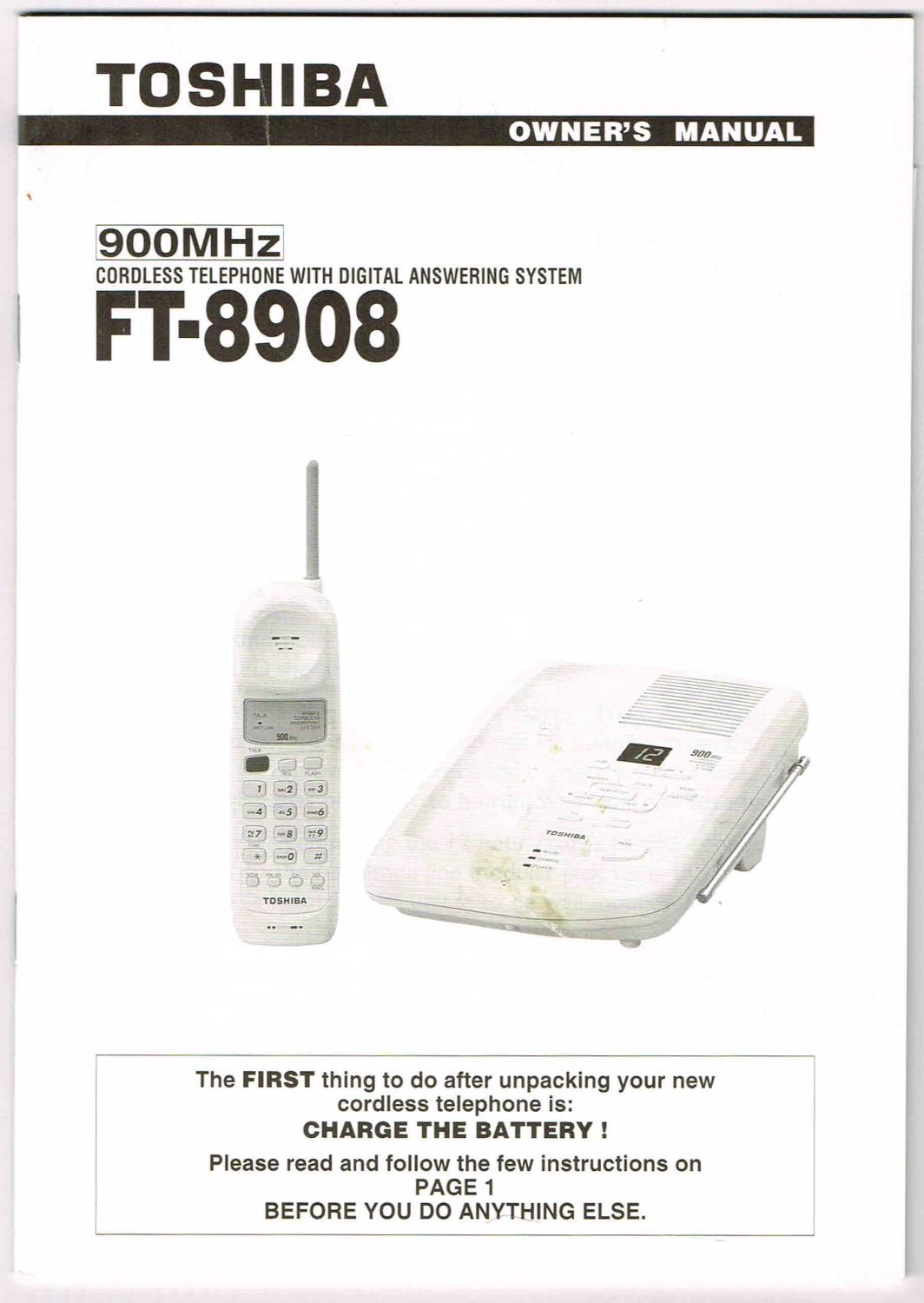 TOSHIBA OWNERS MANUAL 900MHz FT 8908 CORDLESS TELEPHONE WITH DIGITAL ANSWERING SYSTEM