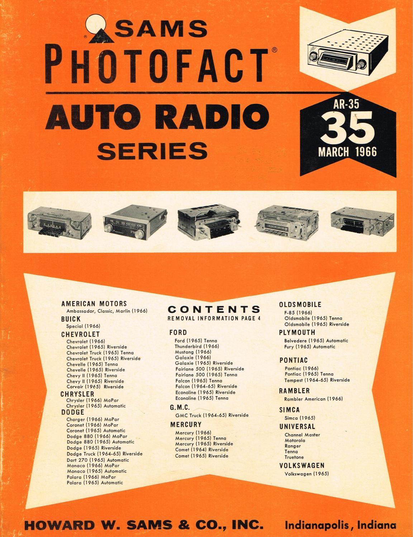 Sams Photofact Auto Radio Series AR-35,