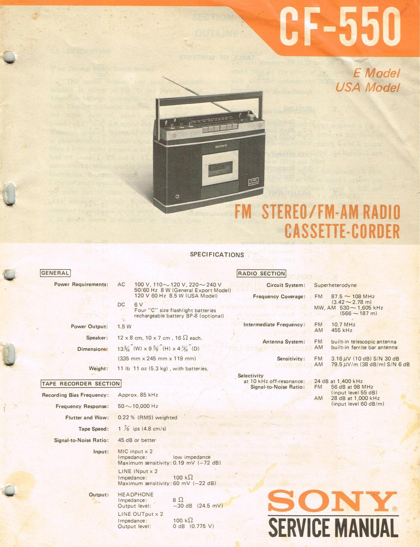 SONY SERVICE MANUAL CF 550 FM STEREO AM RADIO CASSETTE