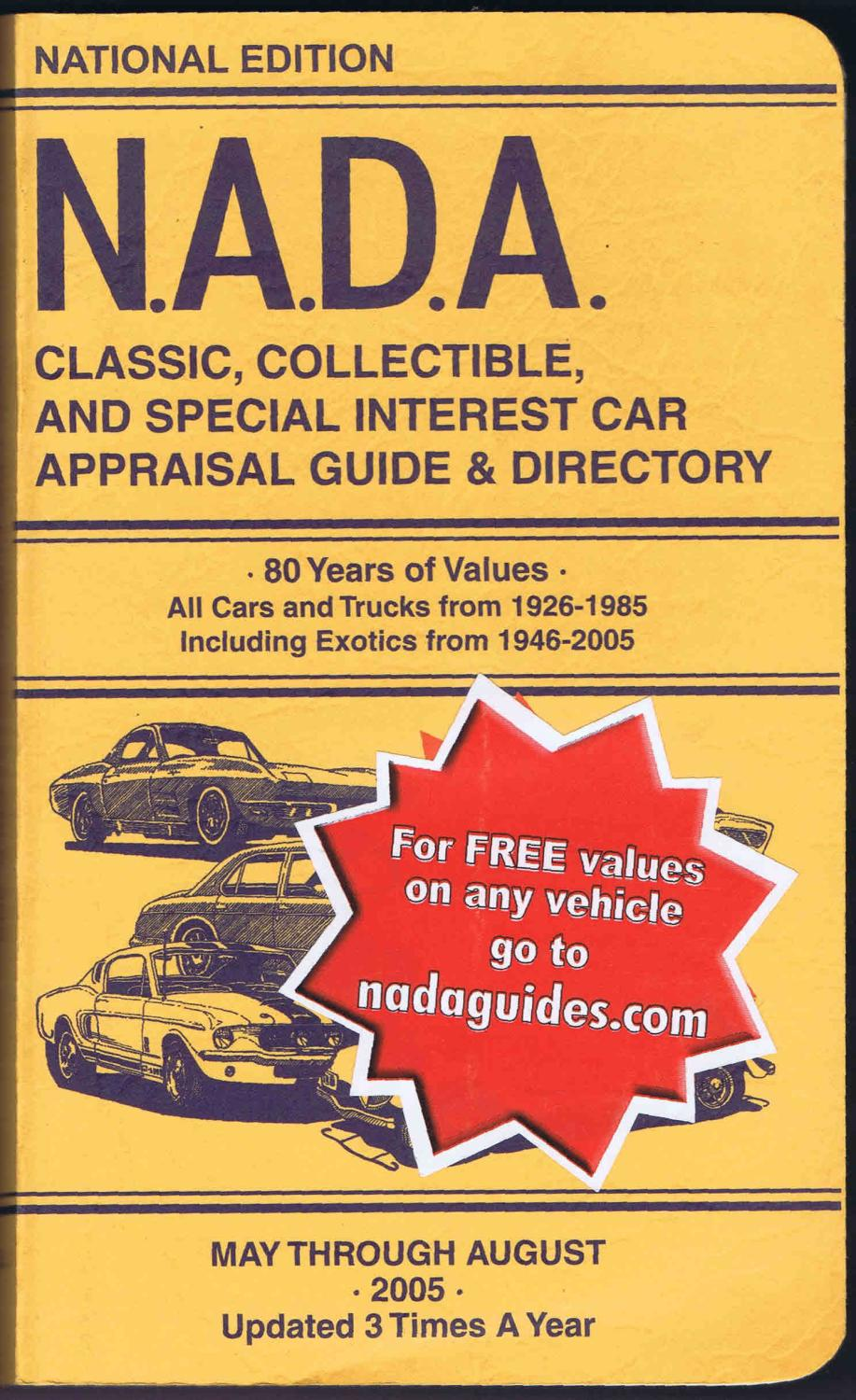 N.A.D.A. CLASSIC, COLLECTIBLE, AND SPECIAL INTEREST CAR APPRAISAL ...
