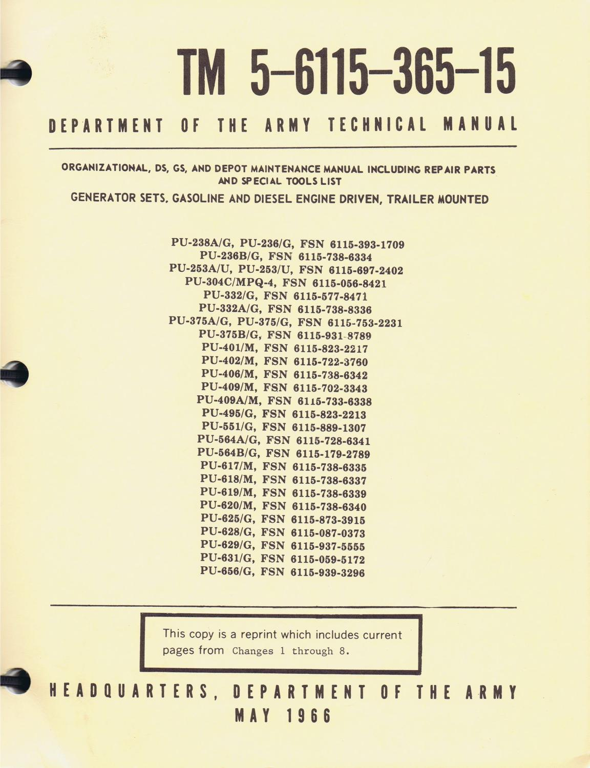 u s army technical manual tm 5 6115 365 15 generator sets rh abebooks com U.S. Army Special Forces Manual U.S. Army TM Manuals