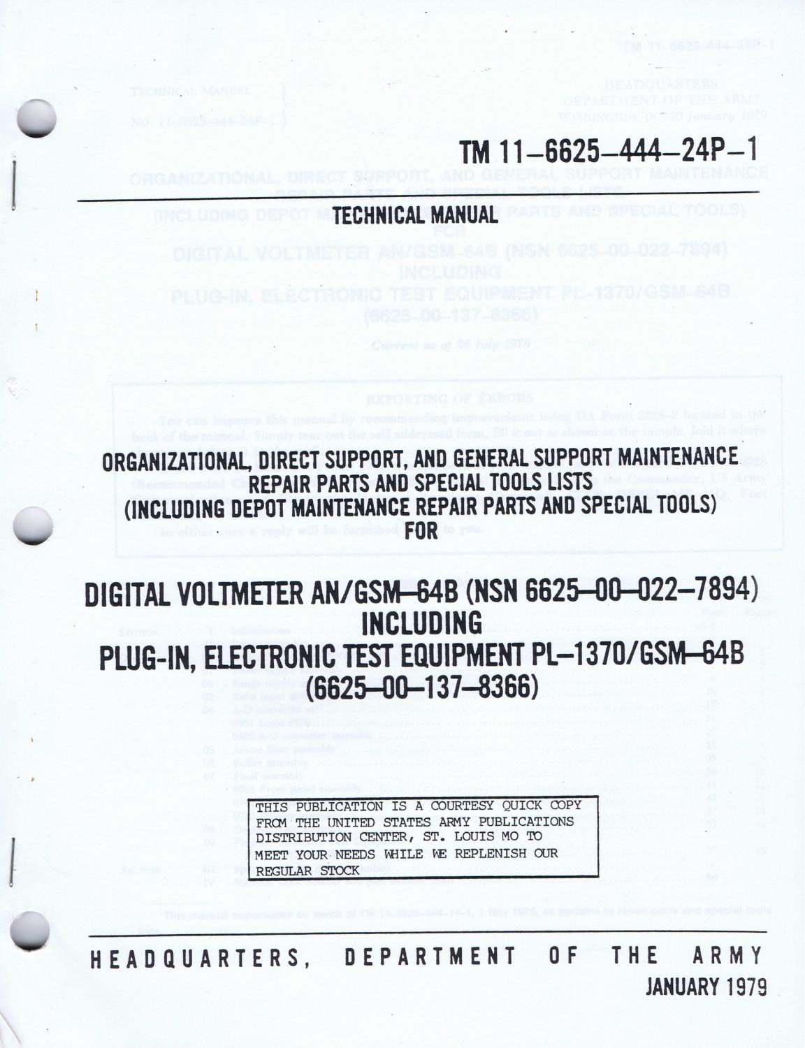 u s army technical manual tm 11 6625 444 24p 1 digital voltmeter rh abebooks com Military Electronic Technical Manual army electonic technical manuals