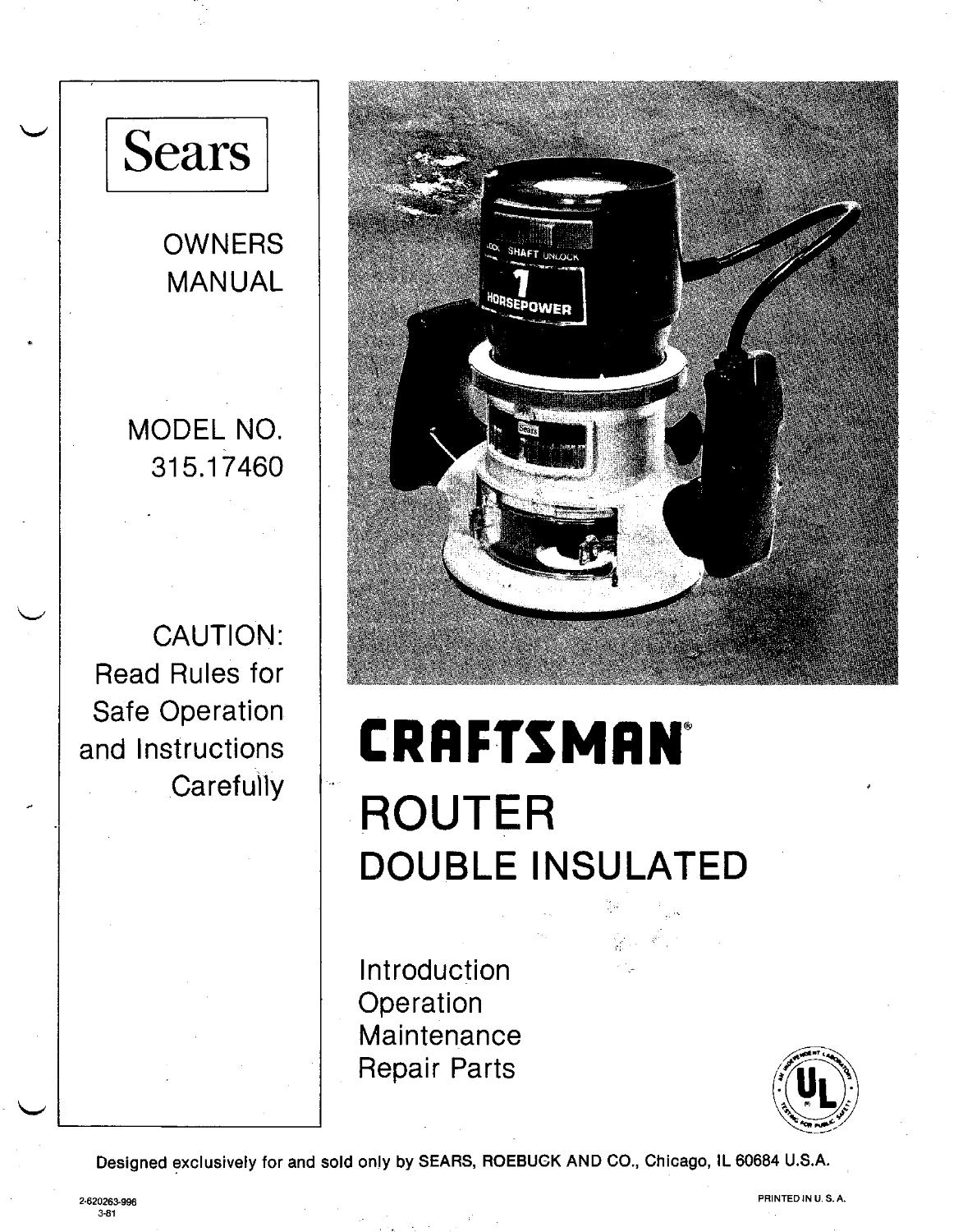Craftsman router model 315 parts on