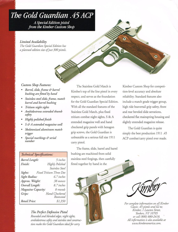 Kimber: The Gold Guardian  45 ACP, 1999