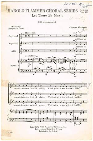Let There Be Music (for Three-Part Women's: Williams, Frances (Music);