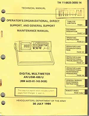 TM 11-6625-3055-14: DIGITAL MULTIMETER, AN/USM-486/U (6625-01-145-2430) - OPERATOR'S, ...