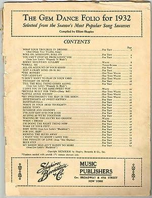 THE GEM DANCE FOLIO for 1932 Selected: Shapiro, Elliott (compiler)