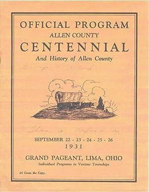 OFFICIAL PROGRAM ALLEN COUNTY (OHIO) CENTENNIAL And: C. A. Russler;