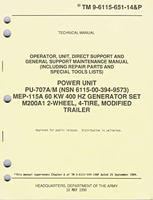 U.S. Army, Technical Manual, TM 9-6115-651-14&P, POWER: Department of The
