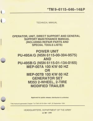U.S. Army, Technical Manual, TM 9-6115-646-14&P, POWER: Department of The