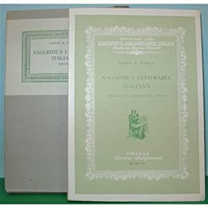 SAGGISTICA LETTERARIA ITALIANA Fucilla 1956 sansoni