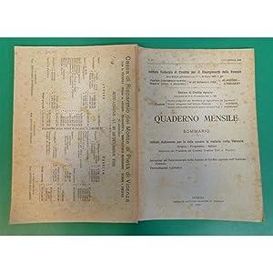 venezia QUADERNO MENSILE 1922 n. 11 Istituto lotta contro la malaria nelle Venezie: L. Picchini