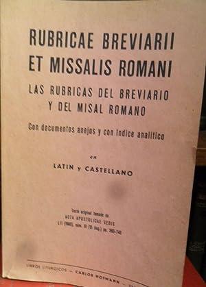 RUBRICAE BREVIARII ET MISSALIS ROMANI - LAS RÚBRICAS DEL BREVIARIO Y DEL MISAL ROMANO con ...