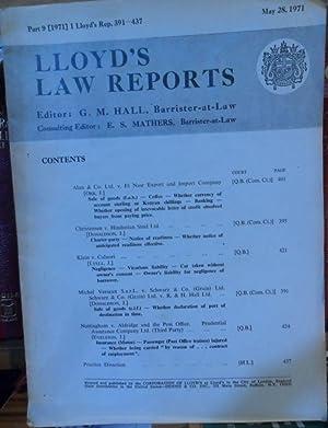 LLOYD'S LAW REPORTS Part 9 [1971] 1: G.M. HALL (Editor)
