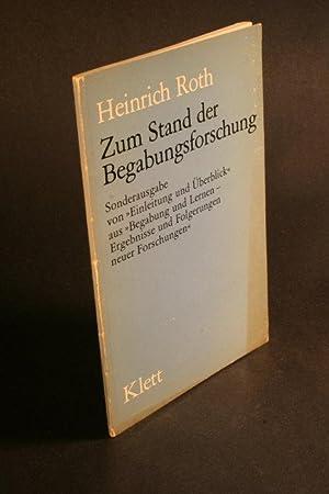 """Zum Stand der Begabungsforschung. Sonderausgabe von """"Einleitung und Uberblick"""" aus """"..."""