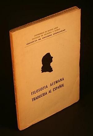 Filosofia alemana traducida al espanol, repertorio bibliografico: Brugger, Ilse