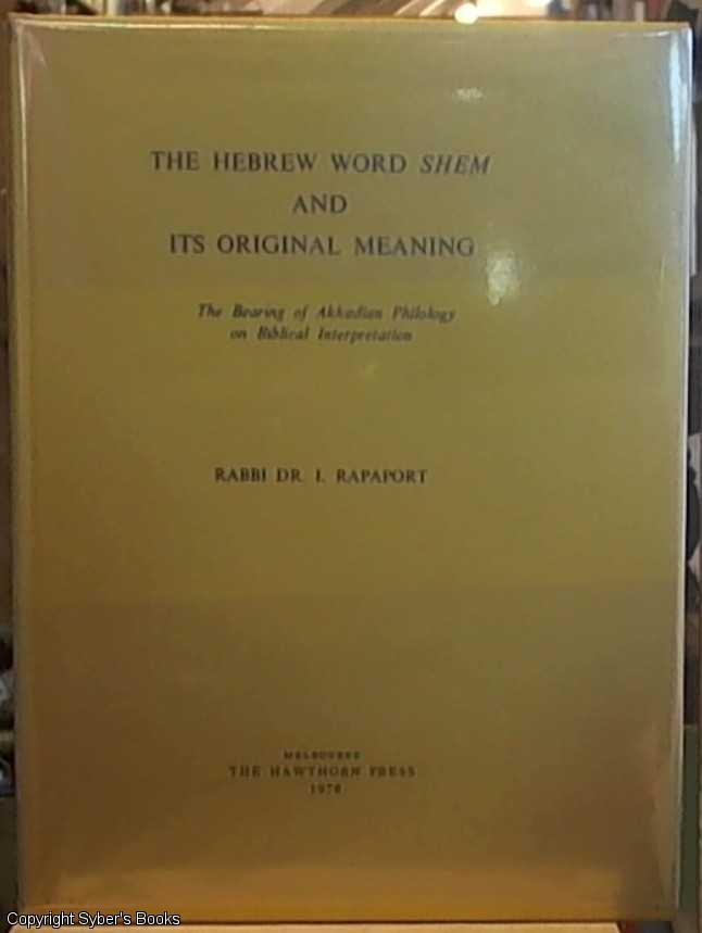 The Hebrew Word Shem and Its Original Meaning