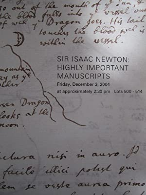 Sir Issac Newton: Highly Important Manuscripts, Sotheby's New York, December 3, 2004