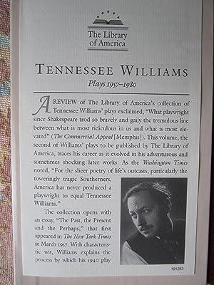 Tennessee Williams: Plays 1957-1980: Williams, Tennessee
