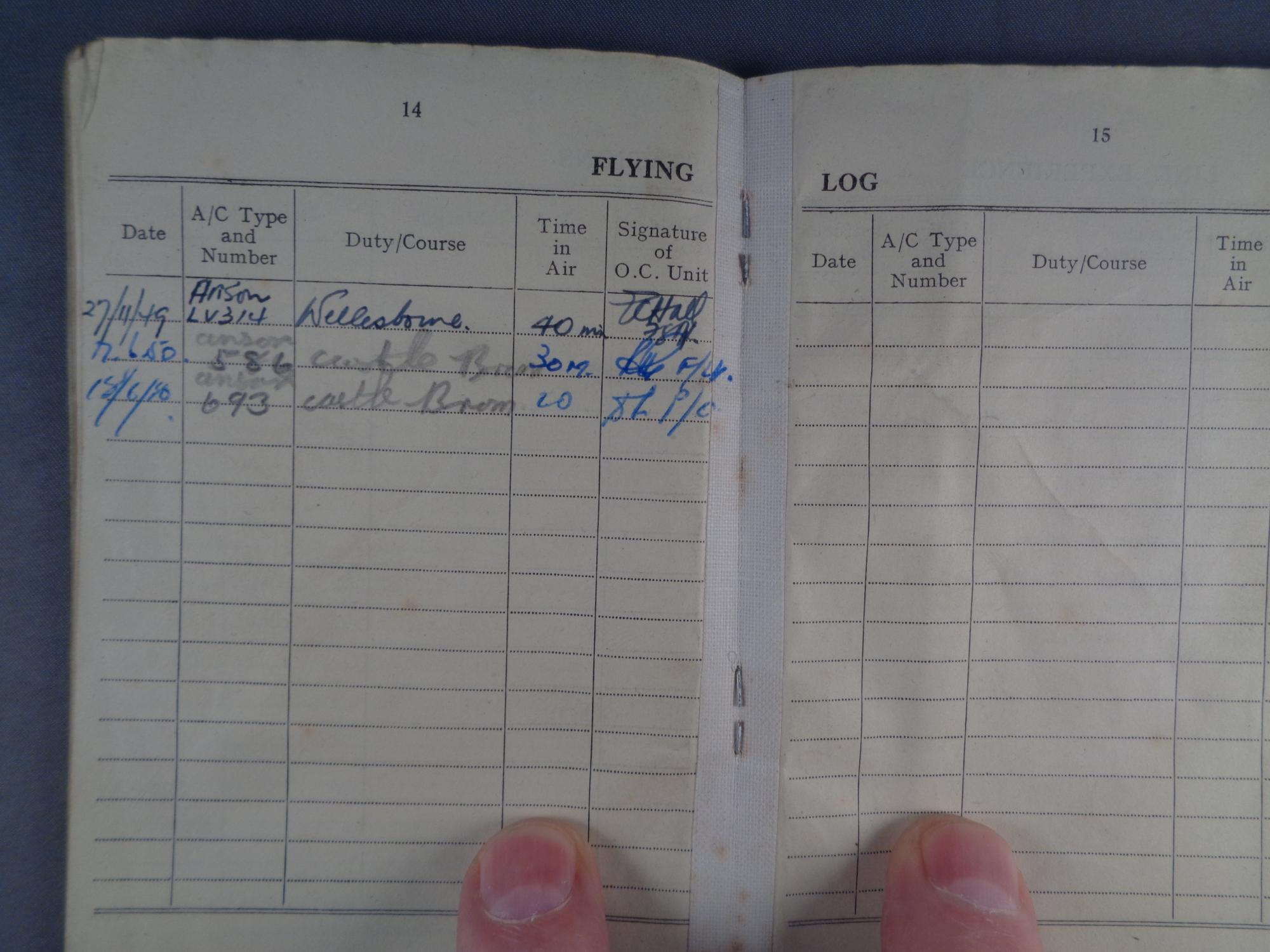 Flying Log Book for Navigators, Air Bombers,