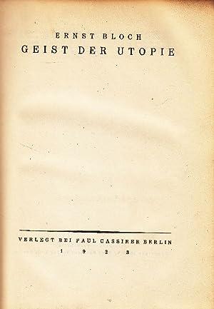 Geist der Utopie.: Bloch, Ernst