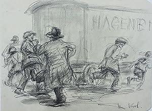 [Rangelei beim Circus Hagenbeck. - Kreidezeichnung]. -: Kroh, Heinz:
