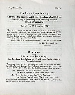 Bekanntmachung, betreffend den zwischen Lübeck und Hamburg abgeschlossenen Vertrag wegen ...