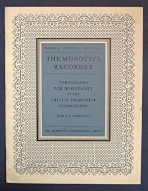 TYPOGRAPHY For HOSPITALITY. The Monotype Recorder. Volume 41, Number 2. Spring 1958