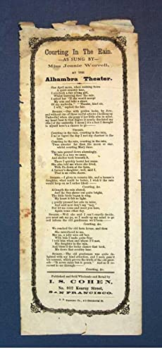 COURTING In The RAIN; As Sung by Jennie Worrell, at the Alhambra Theater: California Songster]. ...