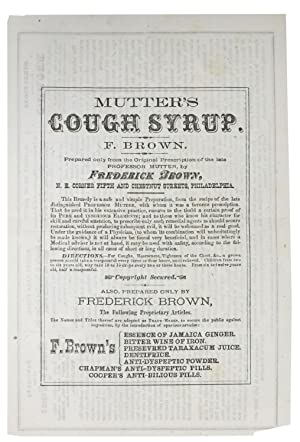 MUTTER'S COUGH SYRUP / DIRECTIONS For TAKING Dr. FREDERICK BROWN'S ESSENCE Of ...