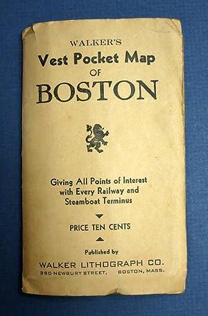 WALKER'S VEST POCKET MAP Of BOSTON. Giving: Walker Lithograph Co